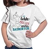 HARIZ  Mädchen T-Shirt Echte Mädchen Badminton Sportlich Inkl. Geschenk Karte Weiß 116/5-6 Jahre