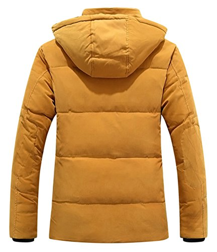 BININBOX® Herren Fashion Daunenmantel Daunenjacke Parka mit Kapuze Wintermantel Gelb