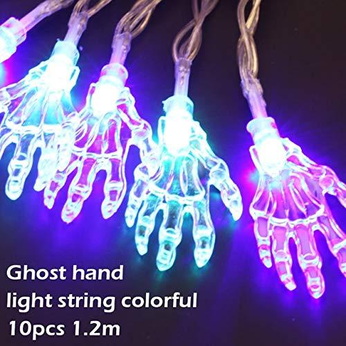WSCOLL 10 LED-Lampen Halloween Party leuchtende Lichter Ghost Pumpkins Bat Kupferdraht Batterie LED Lichterkette Happy Halloween Party DecorHand - Monster High Ghost Kostüm
