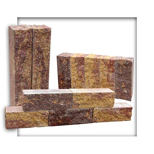 Kieskönig Palisade Beton Mauerstein Leistenstein Kantensteine aus Edelsplitt durchgefärbt 22 x 8 x 7,5 cm Herbstlaub 25 Stück
