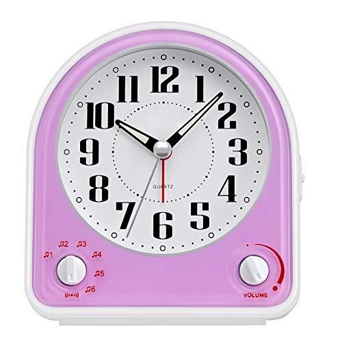 DreamSky Kinderwecker Analog Wecker mit Nachtlicht, Snooze Funktion, Kein Ticken, Geräuschlos, 7 Alarmtöne mit Lautstärkeregelung, Batteriebetrieben (Pink)