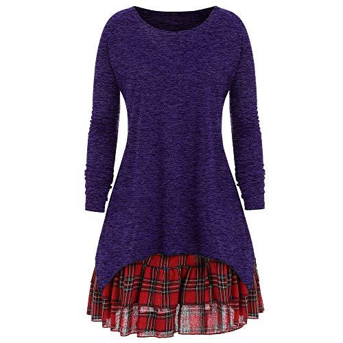 Preisvergleich Produktbild Resplend_langarmshirt, Frauen 2018 Casual Herbst Plus Größe Lange Ärmel Pullover Plaid Zweiteiler Kleid Rock Bluse