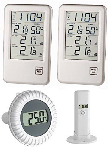 Poolthermometer Malibu Mega TFA 30.3053.Mega Funkthermometer Incl. 2 Displays (Silber)