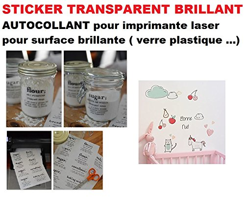 Stickers Transparents BRILLANT pour Impression sur imprimante laser . 10 planches A4 pour imprimer Sticker, autocollant , étiquette synthétique plastique autocollante, imperméable pour tout support lisse - résistante à l'eau et aux huiles. étiquette pour bocal, flacon, vitre,