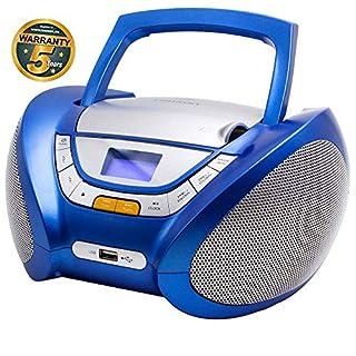 LAUSON CP446 CD Player USB | Stereoanlage Boombox | CD Radio Tragbar | Kinder Radio mit Cd Spieler | USB kopfhöreranschluss | Cd Player für Kinder (Blau)