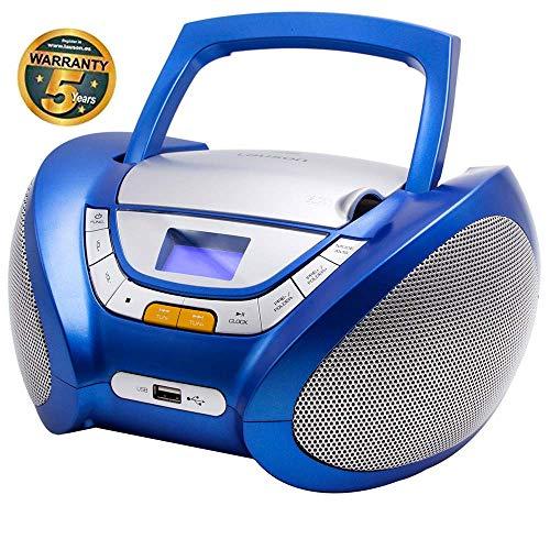 Lauson Radio CD Portatile USB | Lettore Cd per Bambini | Stereo Radio FM | Boombox Con Pratica Maniglia | CD/MP3 Player Portatili| AUX IN | LCD-Display | (Blu)