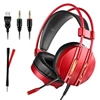 Tectri 7.1Surround Gaming Headset Stereo Over-Ear Gaming Headphone with Mic + Volume Buttons + 1x Audio 3.5mm Y Splitter Cable for PC, Mac, Laptop, Smartphone, Tablet, iPod, Xbox One, PS4 red red