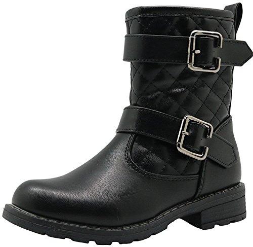 38a17ee27faf0 Sunny&Baby Little Kid's Shoes Bottines Fille Bottines d'équitation 2 Bandes  lacées Fermeture éclair latérale