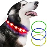Light up Dog Collar, USB Rechargeable Light Up Pet Safety Collar with 3 Glowing Modes, Flexible Silicone Dog Collar Great for Small Medium Large Dogs (Red)
