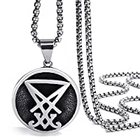 Elfasio Jewelry Stainless Steel Pendant Necklace Mens Sigil of Lucifer Seal of Satan Baphomet Chain Length 46cm