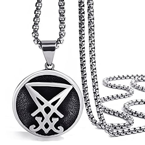 Elfasio Jewelry Stainless Steel Pendant Necklace Mens Sigil of Lucifer Seal of Satan Baphomet Chain Length 61cm