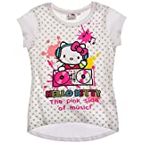 Hello Kitty T-Shirt für Mädchen Kurzarm in 2 Varianten und 4 Größen, Farbe:Weiß, Größe:104