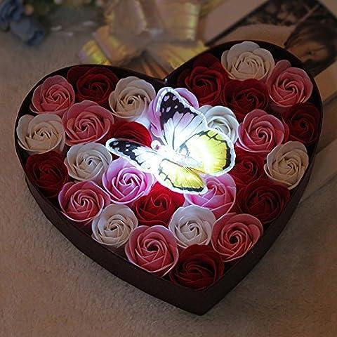 LianLe 26 Stk Duftseifen Rosen Seife Blumen Soap Flower mit Schmetterling in Elegant Box Hotel Deko Hochzeit (Elegante Rosen-seife)