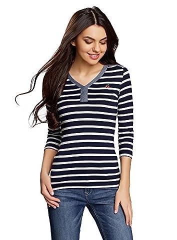 oodji Ultra Femme T-shirt Henley Rayé, Bleu, FR 38 /