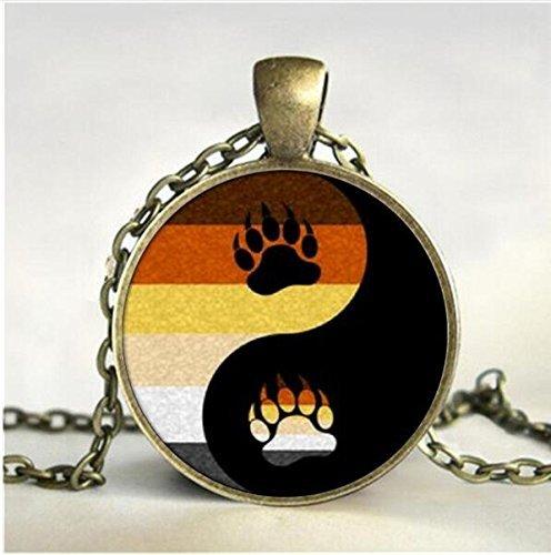 (Bear Pride Ying Yang Pride Foto Charm Anhänger Halskette & Anhänger handgefertigt Glaskuppel Gay Jewelry)