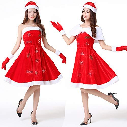Shisky Weihnachtskostüme,Weihnachtskostüm, Weihnachten Kleid, Erwachsene weibliche Leistung Anzug Weihnachtsmann-Kostüm