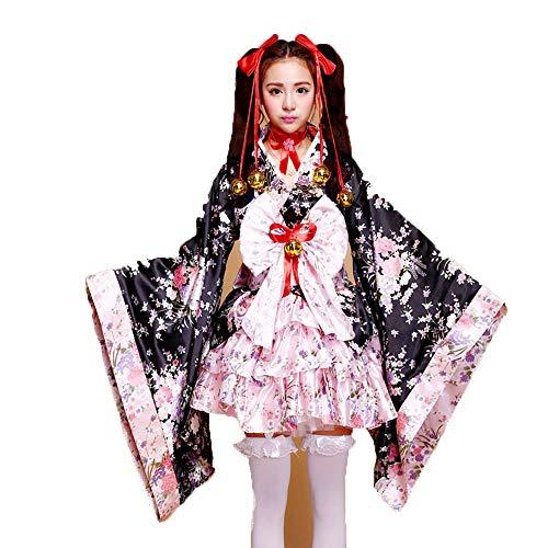 fagginakss Frauen Cosplay Lolita Kostüm japanische Kimono Anime Kostüme,6 Set- Flower Sakura Druck Kimono Robe Yukata japanischen Kleid, Nette Frauen Anime Cosplay Französisch Maid Schürze Kostüm (Japanische Yukata Kostüm)