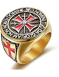 vnox Anillo de acero inoxidable para hombre de oro chapado en oro con anillo para el Memorial