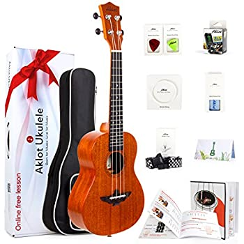 Ukulele Solid Mahogany 23In. Concert Ukelele With Online Course - 8 Packs Beginner Starter Kit (Bag, Picks, Tuner, Strap, String, Cleaning Cloth, Instruction Book, Hard Carton Box) From AKLOT