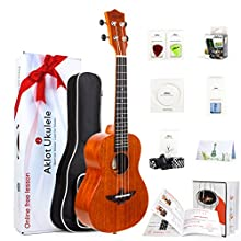 Aklot Tenor Ukulele Solid Mahogany Ukelele 26 Beginners Starter Kit with Free Online Courses and Ukulele Accessories Bag Picks Tuner Strap String Cleaning Cloth Instruction Book Hard Carton Box