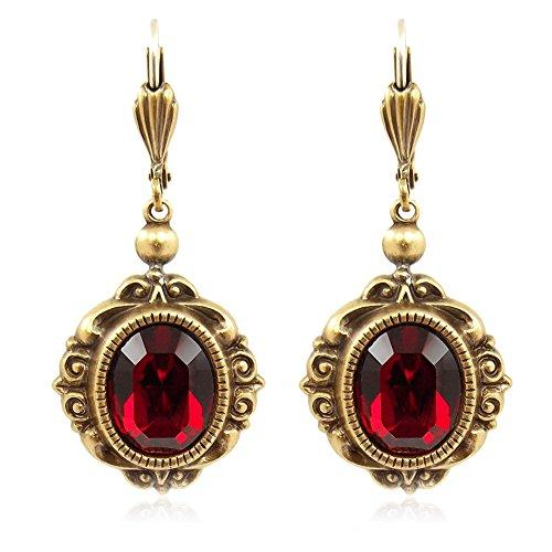 Vintage Ohrringe mit Kristallen von Swarovski® Rot Gold NOBEL SCHMUCK