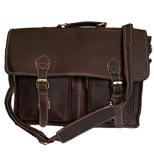 """Mad Over Shopping Madosh Echtes Leder Vintage 16"""" Laptoptasche Büro Handtasche Messenger Herren Aktentasche Retro"""