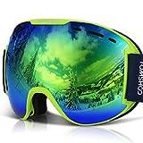 TOMSHOO Gafas de Esquí OTG Sobre los Anteojos Unisex Protección de UV Anti-Niebla Ajustable Lente de Doble Capa Visión Claridad para Esquinar Patinaje Motonieve