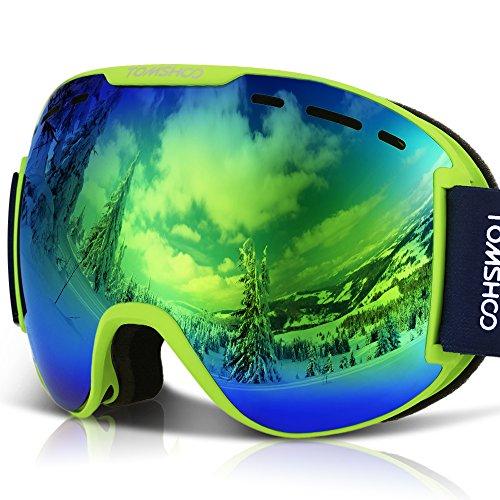 TOMSHOO Maschera da Sci, Occhiali Ski da Snowboard, Super-Grandangolo Lente Sferica a Doppia Strato Anti-UV Antinebbia Antivento per Amanti dello Sci, Sport Invernali, Adulti Bambini