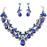 Clearine Damen Hochzeit Braut Kristall Tropfen Cluster Blatt Vine Statement Halskette Dangle Ohrringe Dunkel Blau Gold-Ton