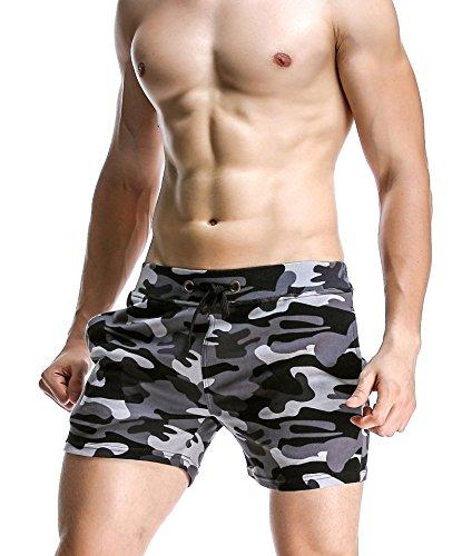 Honeystore Herren Sommer Strand Shorts Badeshorts Badehose Camouflage Boardshorts mit Muster Grau