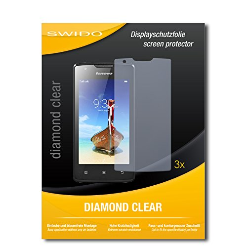 SWIDO 3 x Schutzfolie Lenovo A1000 Bildschirmschutz Folie DiamondClear unsichtbar