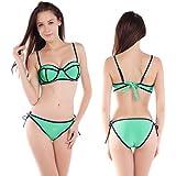 CLE DE TOUS - Sujetador de bikini preformado con aros push up + Braga de bikini de lazo Talla 38-40 Color Verde (S (38))