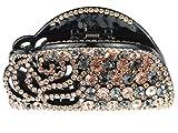 Damen Große Luxus geschoben 9cm Glitzernde Strass Kristall Haar Haarkralle Schablone Rose