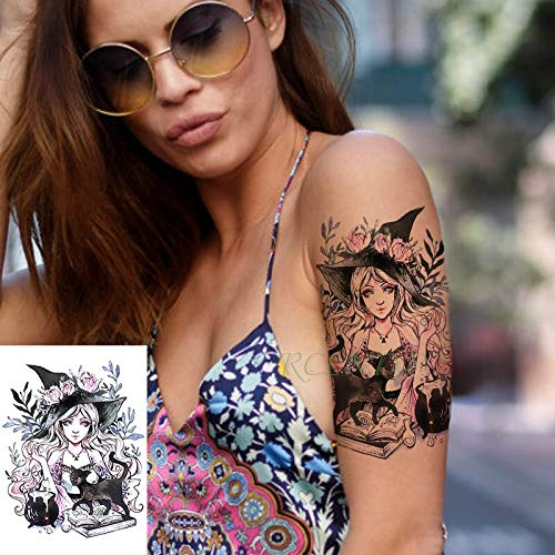 5pcs impermeabile tatoo tattoo sticker maghi strega ragazza fiore gatto nero tatto flash tatuaggi tatoo per signora uomini donne