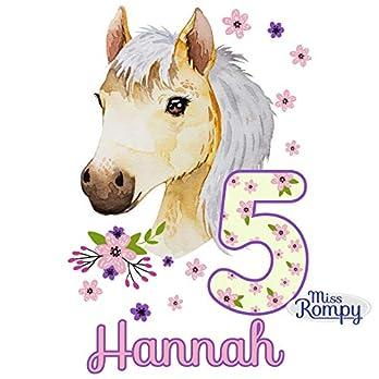 MissRompy Geburtstag Bügelbild Pferd (780) für dunkle und helle Stoffe Zahl groß Aufbügler Pony Alter Bügelbilder…