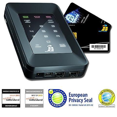 Digittrade HS256S 500GB SSD Externe Festplatte (6,35 cm (2,5 Zoll) USB 2.0) mit 256-Bit AES Hardware-Verschlüsselung, Smartcard und PIN schwarz