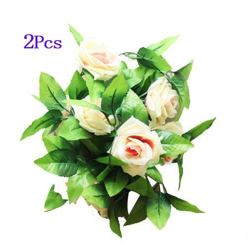 2x-artificial-rose-garland-silk-flower-wedding-home-garden-decor-champagne