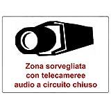 2 X cartelli adesivi avvertenza CCTV adesivi in plastica BIANCA. Per uso all'aperto. Segnale adesivo di grande durata, 100% resistente all'acqua.