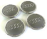 8t0601170Radblenden, 4Deckel für Audi-A3A4A5A6A7A8S4S5S6S8RS4Q3Q5Q7TT A4L A6L S Line Quattro zwischen weitere Modelle, 69mm, DESIGN MIT Audi-Logo, verchromt, Grau (Silver) silberfarben