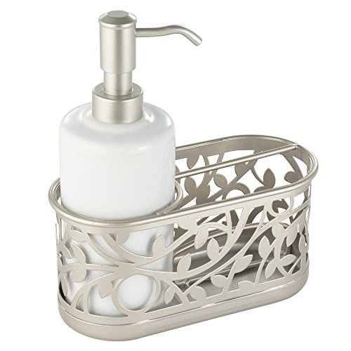 InterDesign Vine Kitchen Sink Soap Dispenser Pump and Sponge Caddy Organizer - White/Satin
