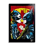 Arthole.it Catwoman e Batman dal Film Batman Returns di Tim Burton - Quadro Pop-Art Originale con Cornice, Dipinto, Stampa su Tela, Poster, Locandina