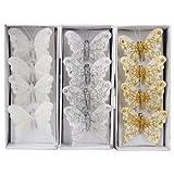 4er XMAS Glitzer Schmetterlinge mit Clip in 3 Farben Deko dekorieren Weihnachten (Weiß)