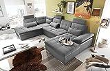 lifestyle4living Wohnlandschaft in Anthrazit und Grau mit verstellbaren Kopfstützen und Armteilen | Couch ist rückenecht bezogen und hat einen Bettkasten