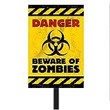 Halloween Warnschild Lebensgefahr Gefahrenzeichen mit Stange, 58.4cm x 25.4cm Biohazard Warnzeichen Zombie Schild Halloweendekoration gruselig Gefahrenschild Partydeko Hinweisschild Halloweendeko