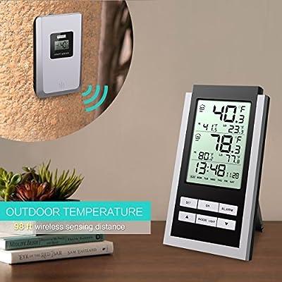 ORIA Innen Außen Temperatur Wetterstation Outdoor Monitor Thermometer mit Blaue Hintergrundbeleuchtung, Temperatur Alarm, MAX MIN Messung, Uhr, LCD Display von ORIA auf Du und dein Garten