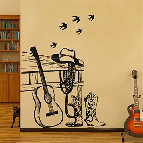 KUANGJING Schlafzimmer wandaufkleber für Teen girlsMusic Art Training klassenzimmer wandaufkleber Dekoration schwarz Gitarre Hut Stiefel Western Cowboy wandaufkleber café wandbild 90x110cm