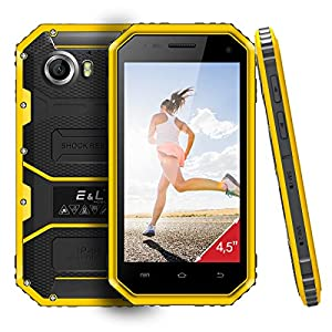 E&L W6 4.5 Inch Waterproof Dustproof Shockproof Rugged Smartphone Android 6.0 Outdoor Unlocked Mobile Phone Quad Core 4G LTE Dual SIM Dual Camera 5MP + 2MP SIM Free IP68 (Yellow)