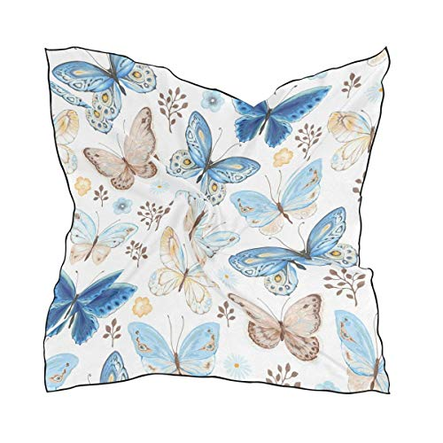 Aeykis Vintage Stylish Flying Butterflies Colorful Women's Polyester Quadratischer Schal Chiffon Lightweight Neck Head Scarves Kerchief for Women Girls Butterfly Beanie Baby