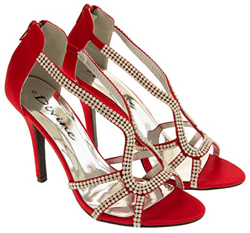 Divine Donna Raso di Diamante Scarpe Tacchi Alti Rosso