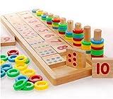 Uteruik Montessori Rainbow Rings Dominos Niños Preescolar Enseñanza Ayudas Contador y apilamiento Tabla Madera Matemáticas Juguete